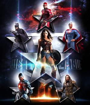 Justice League Stars Logo 3D Movie Wallpaper 2017