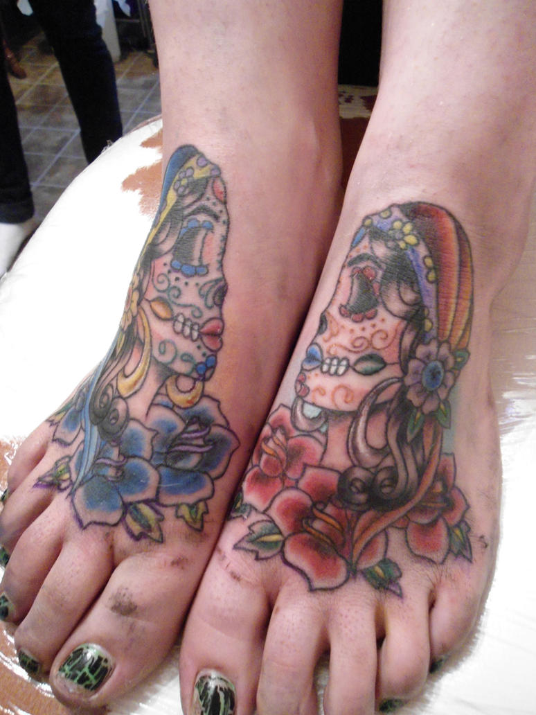Mexican Sugar Skull Tattoo On Foot Picture 3