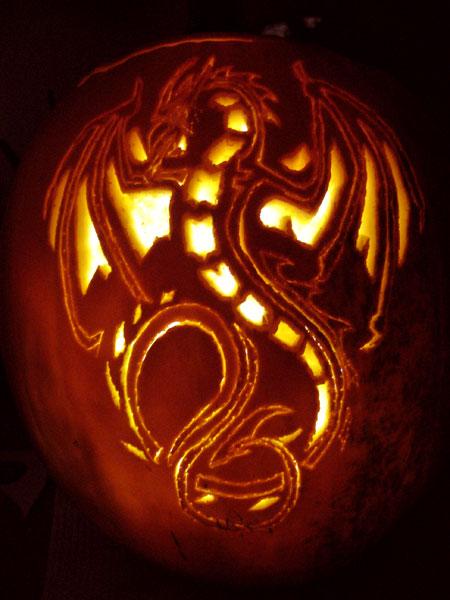 Dragon Pumpkin Carving Dragon Pumpkin by Flutterbyfae