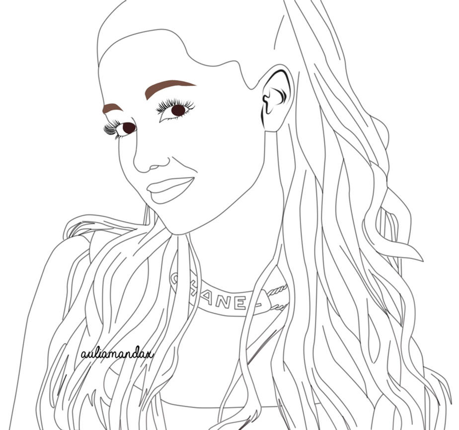 ariana grande coloring pages - ariana grande outline by atsushika28 on deviantart