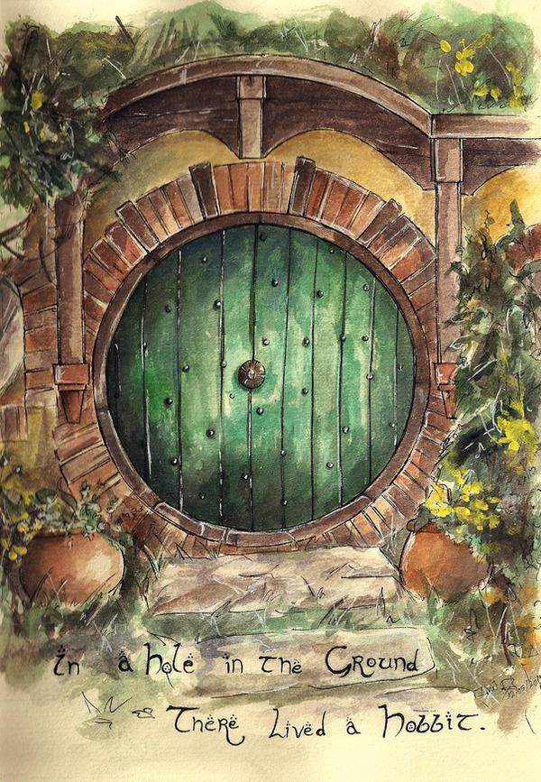 Hobbit door drawing bilbo bagginsu0027 house front door for Hobbit house drawings