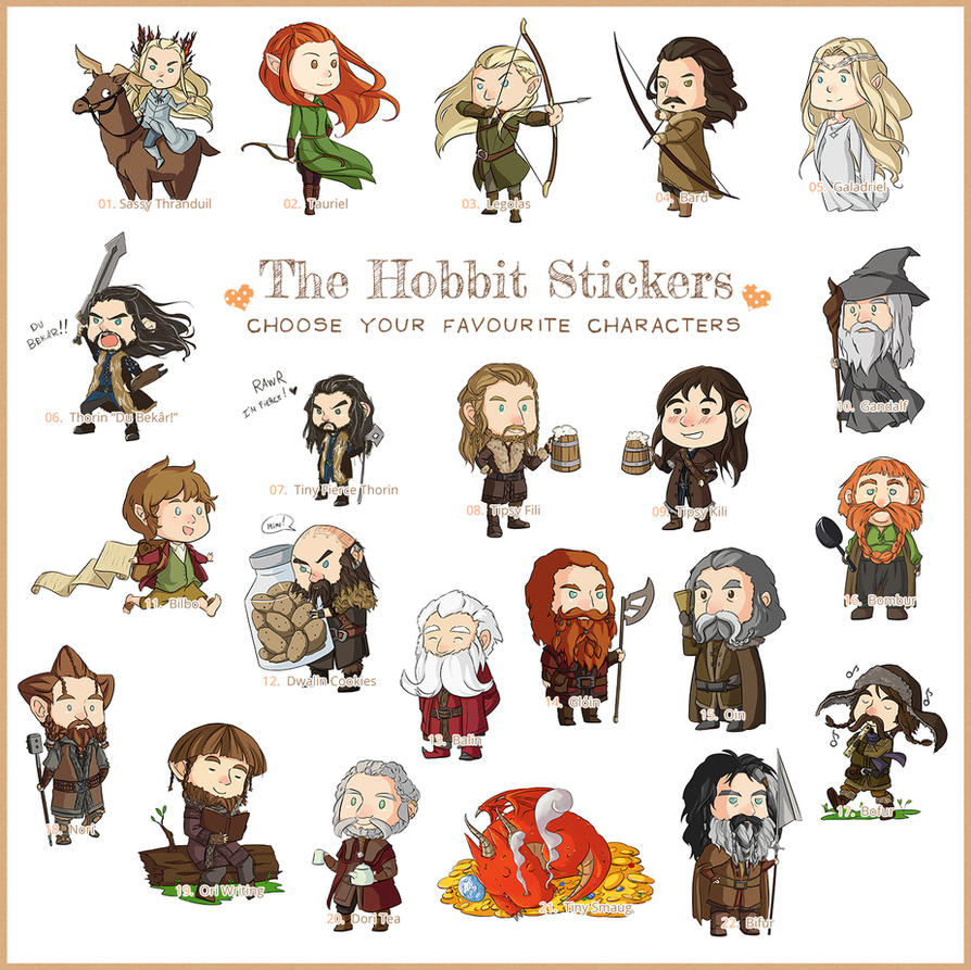The Hobbit Stickers - Finally all the characters! by LonelyFullMoon
