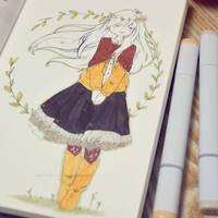 Mori Girl - Inktober 4/31 by LonelyFullMoon