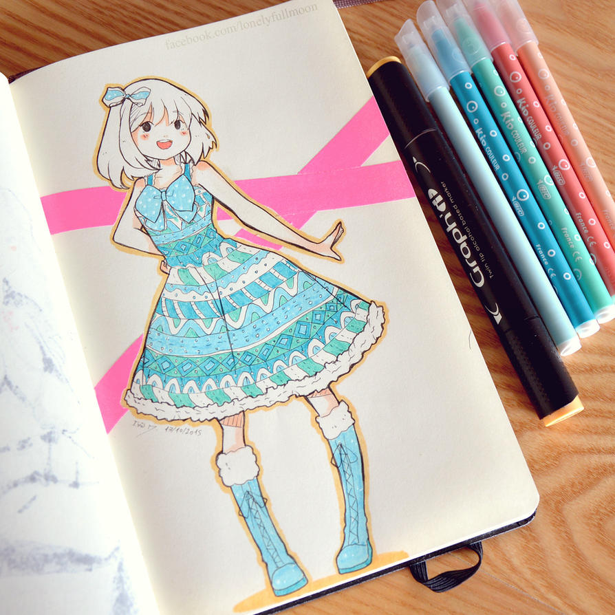 Bright Blue - Inktober 17/31 by LonelyFullMoon