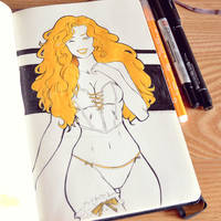 Orange - Inktober 29/31 by LonelyFullMoon