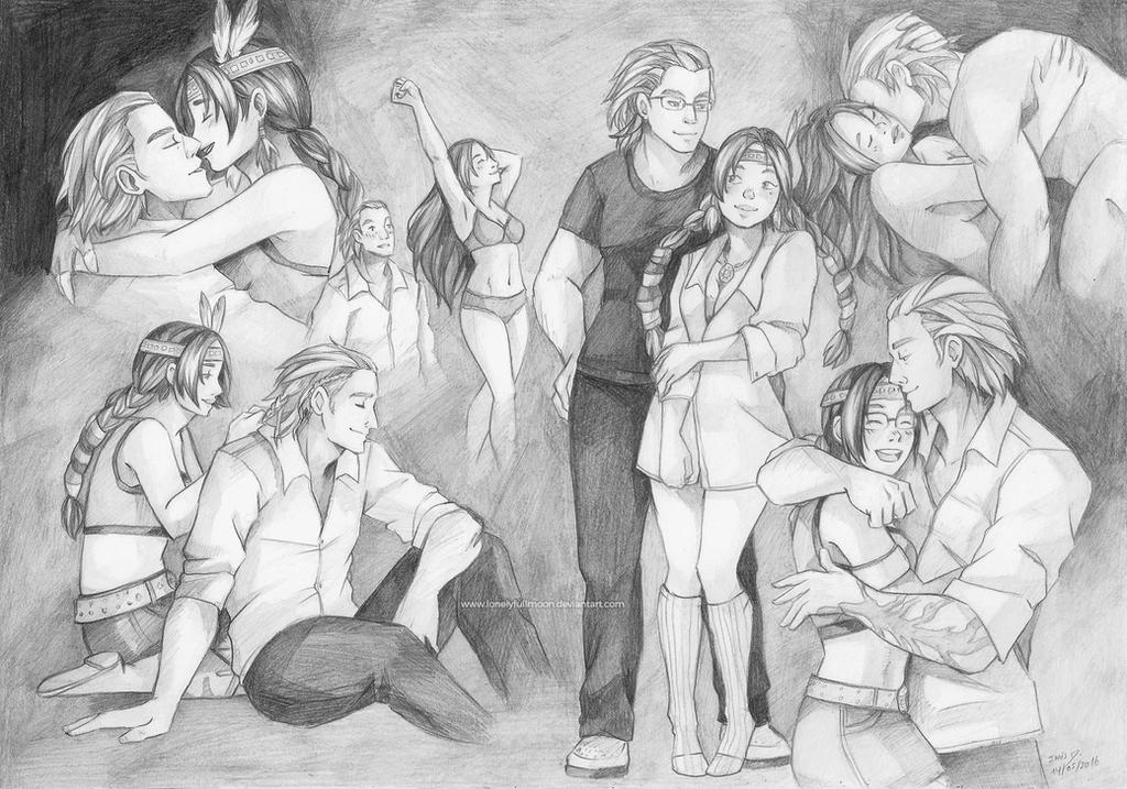Couple Sketchpage for Michaelmyers by LonelyFullMoon