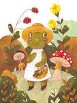 Froggy girl in the forest