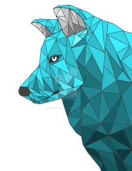 low-poly art wolf