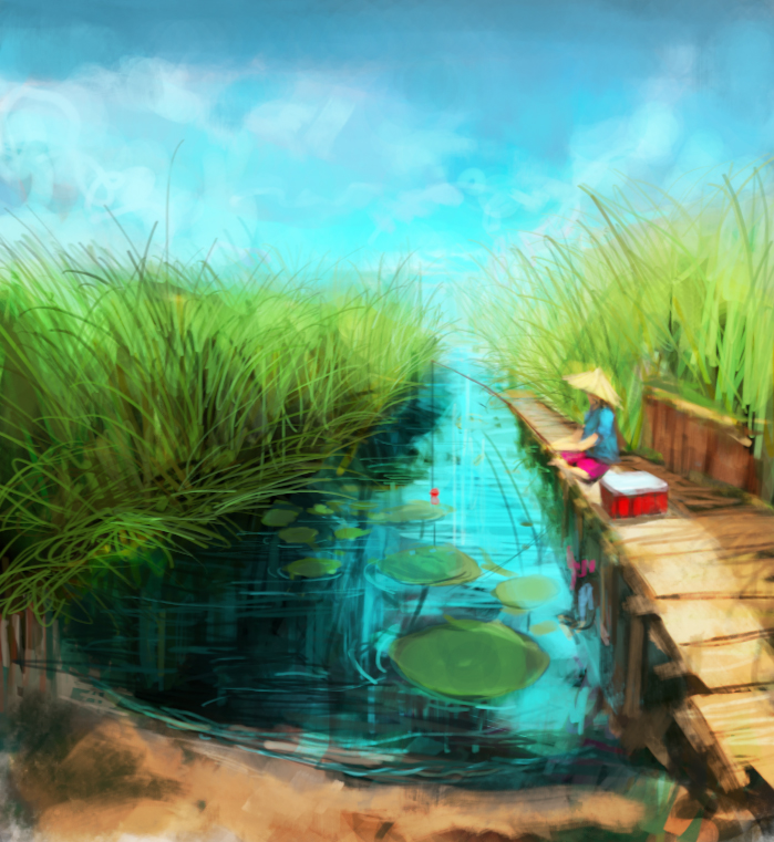 lush, colorful landscape painting of going fishing