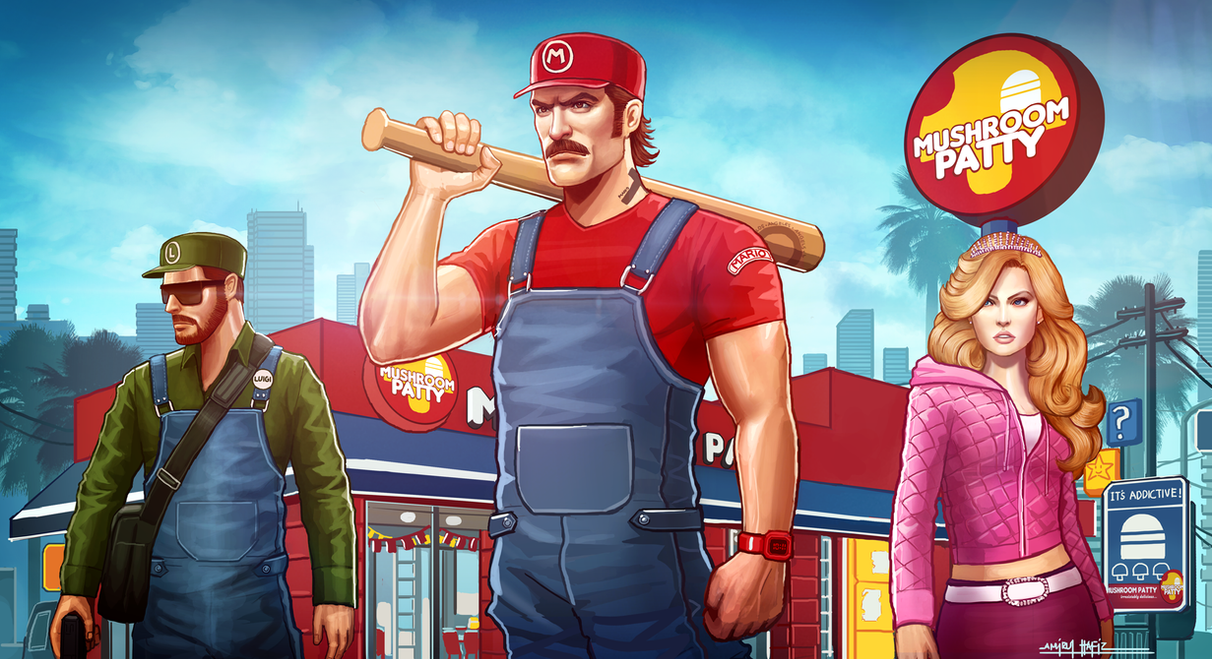 GRAND THEFT MARIO: MUSHROOM PATTY by amirulhafiz