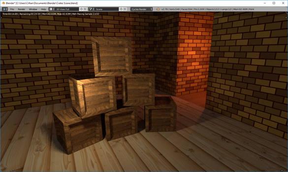 Learning Blender 002: Crates scene.