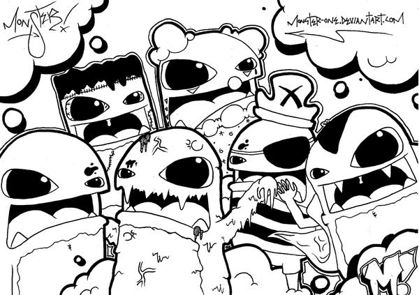 Line Drawing Monster : The family by monster one on deviantart