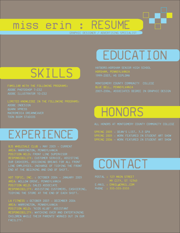 Resume design 2 by tiredofart on DeviantArt