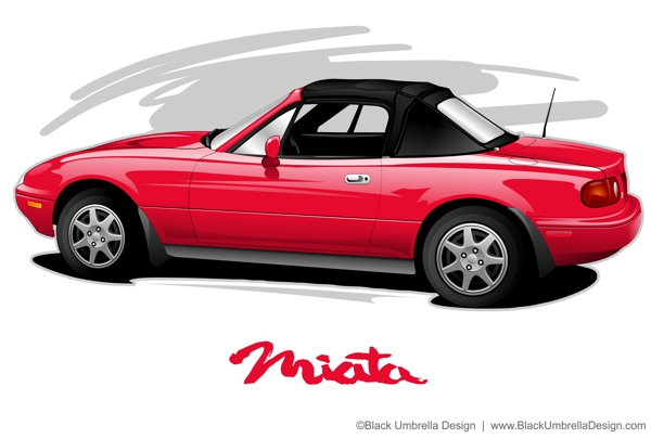 Mazda Miata Vector Illustration by MWorrell