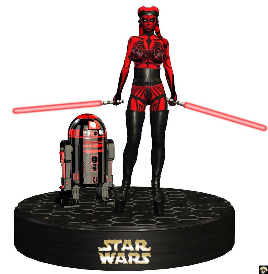 star wars darth talon n r2d2 figurine by xskullheadx on deviantart. Black Bedroom Furniture Sets. Home Design Ideas