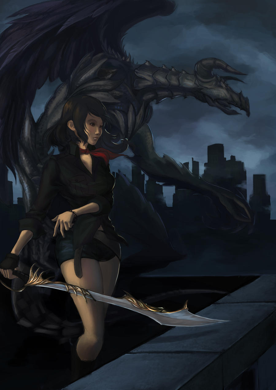 Girl and Gargoyle by Ateo88