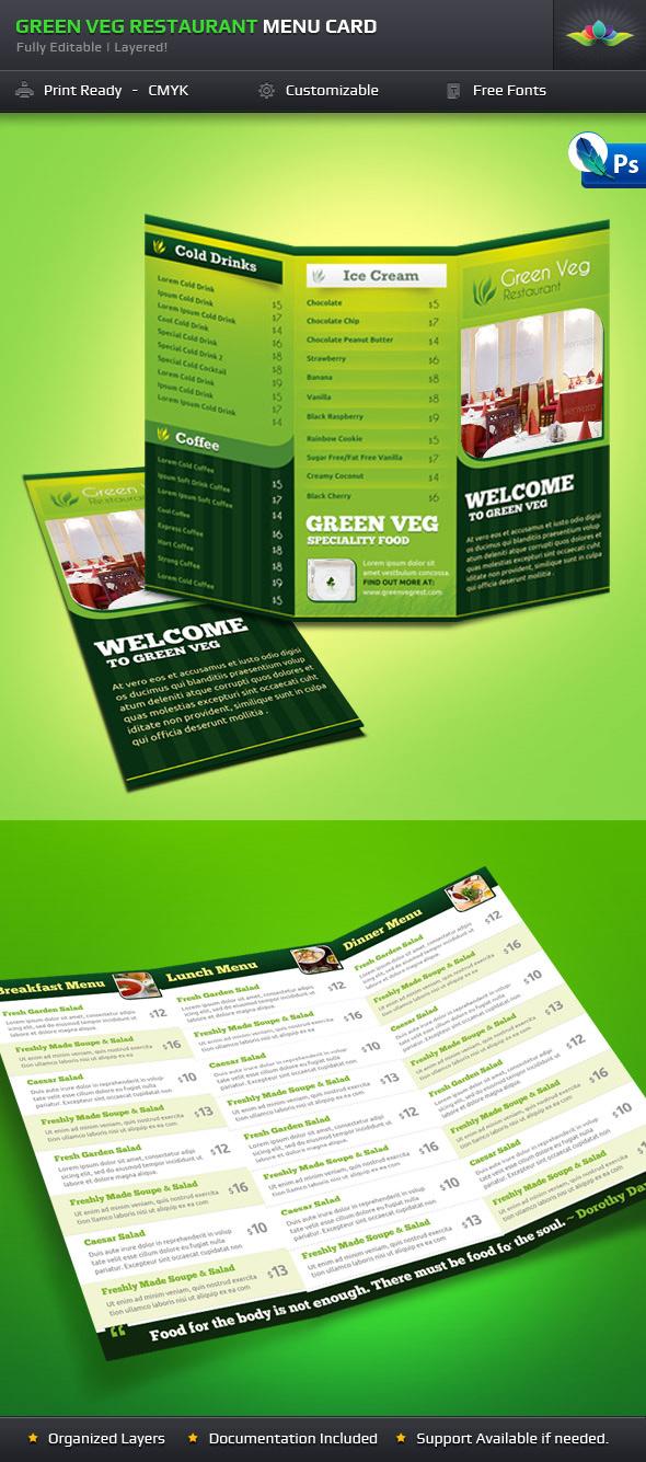 Green Veg Restaurant Tri-fold by Saptarang