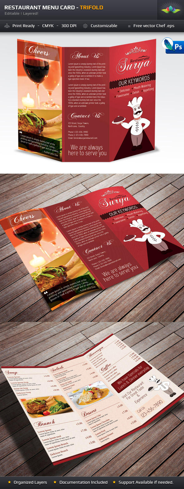 Surya Restaurant Menu Card by Saptarang