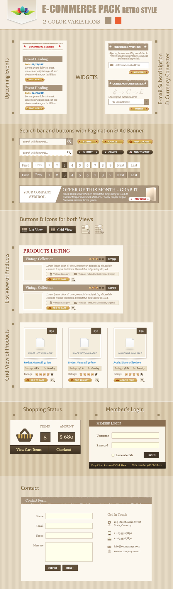 E-Commerce Pack Retro Style by Saptarang