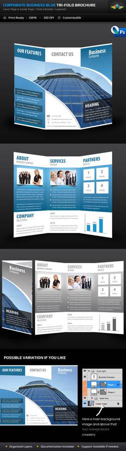 Corporate Business Blue Tri-Fold Brochure