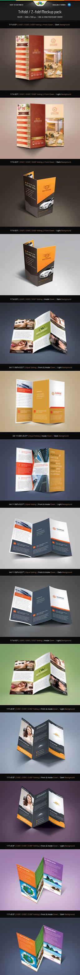 Trifold And Z-fold Mockup Pack by Saptarang