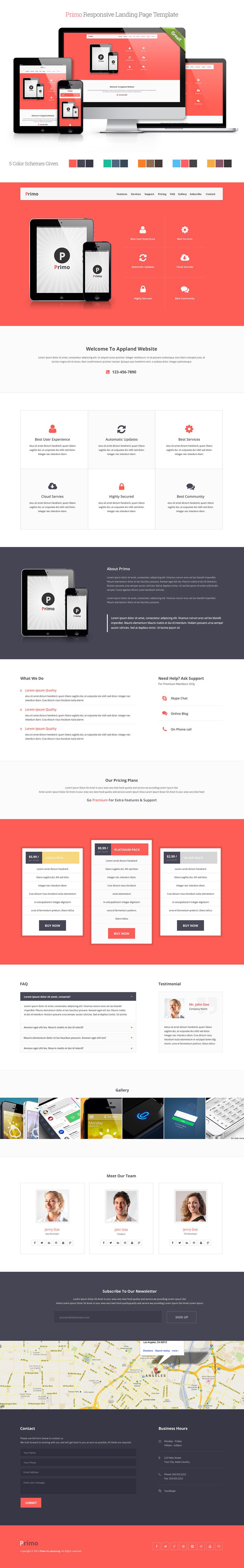 Primo Responsive Landing Page Template by Saptarang