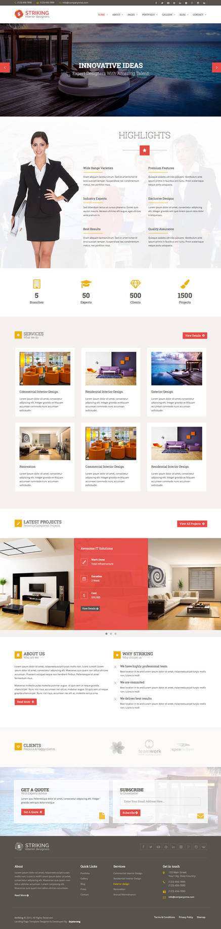 Striking Interior HTML Template Home 2