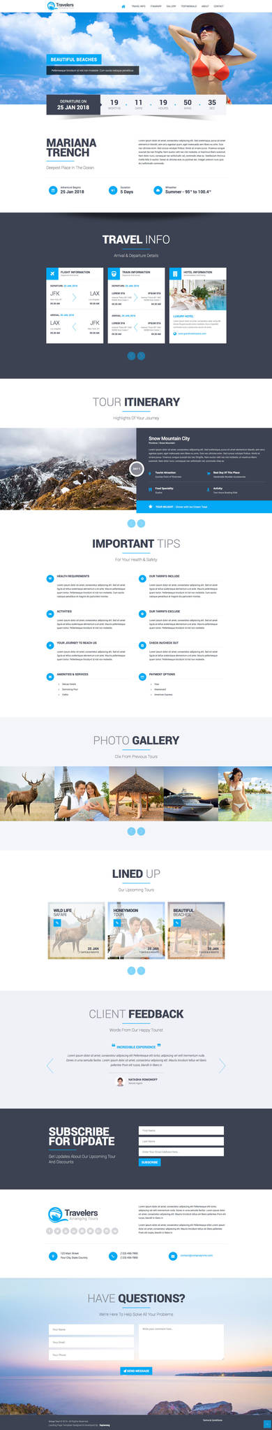 Travelers Landing Page