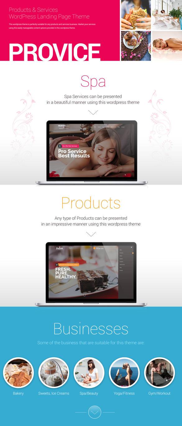 Provice WordPress Landing Page by Saptarang