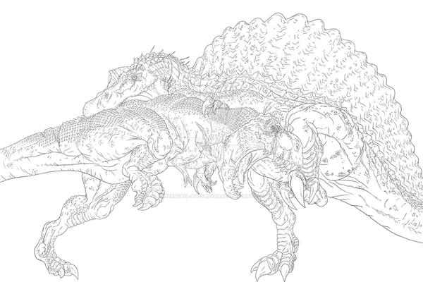 Line Art Vs No Line Art : Tyrannosaurus rex vs spinosaurus line drawing by herschel