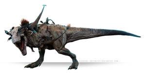 Tarbosaurus vs Velociraptor by Herschel-Hoffmeyer
