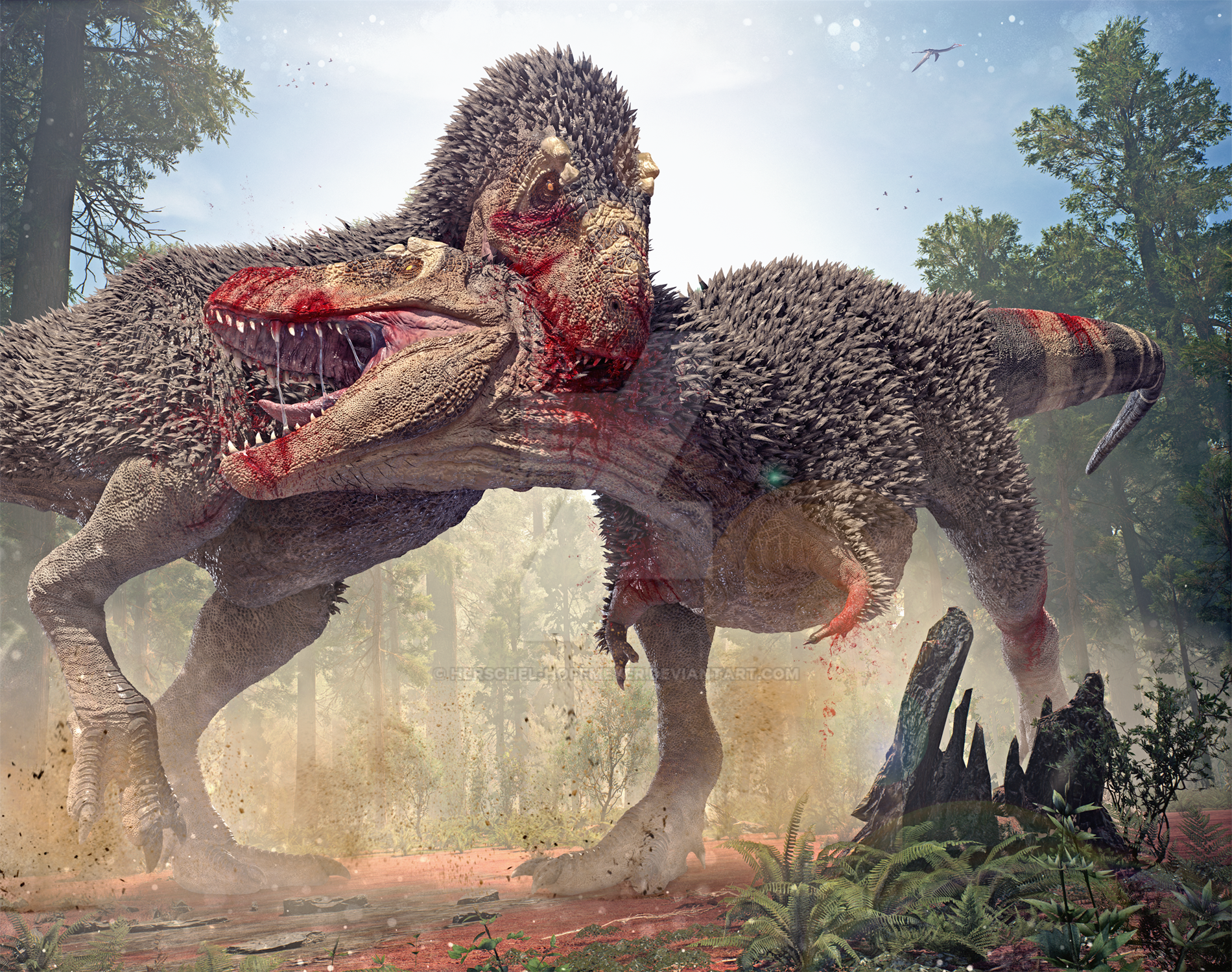 Tyrannosaurus and Prey by EldarZakirov on DeviantArt