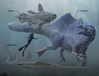 Spinosaurus, Mawsonia, and Onchopristis by Herschel-Hoffmeyer