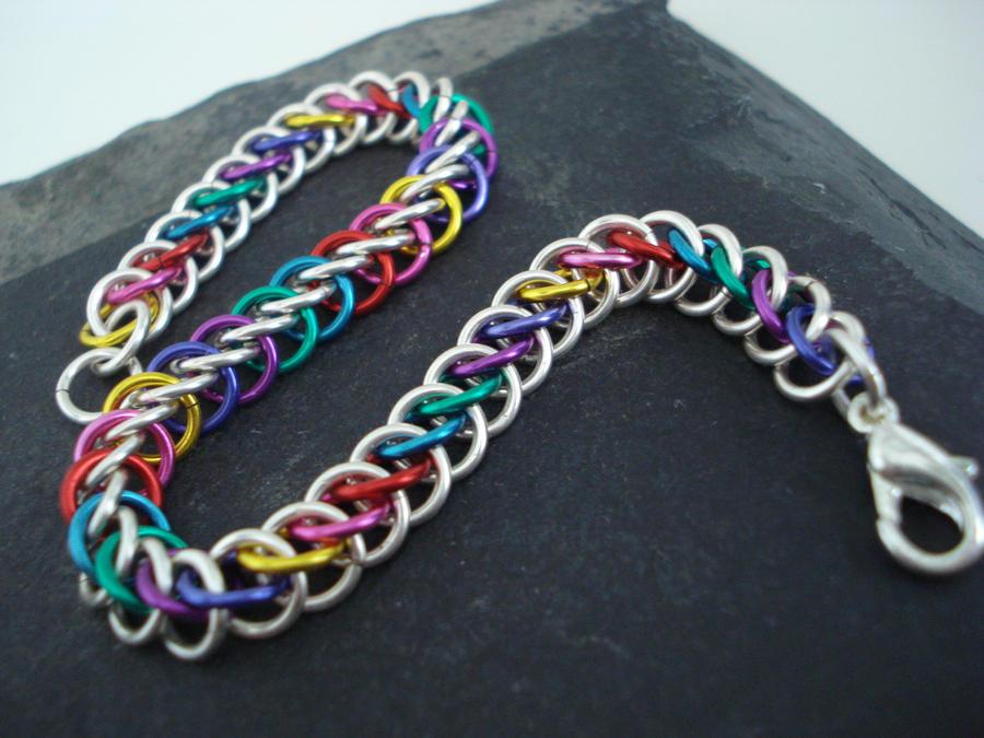 Rainbow Chainmail Bracelet by MariMermaid