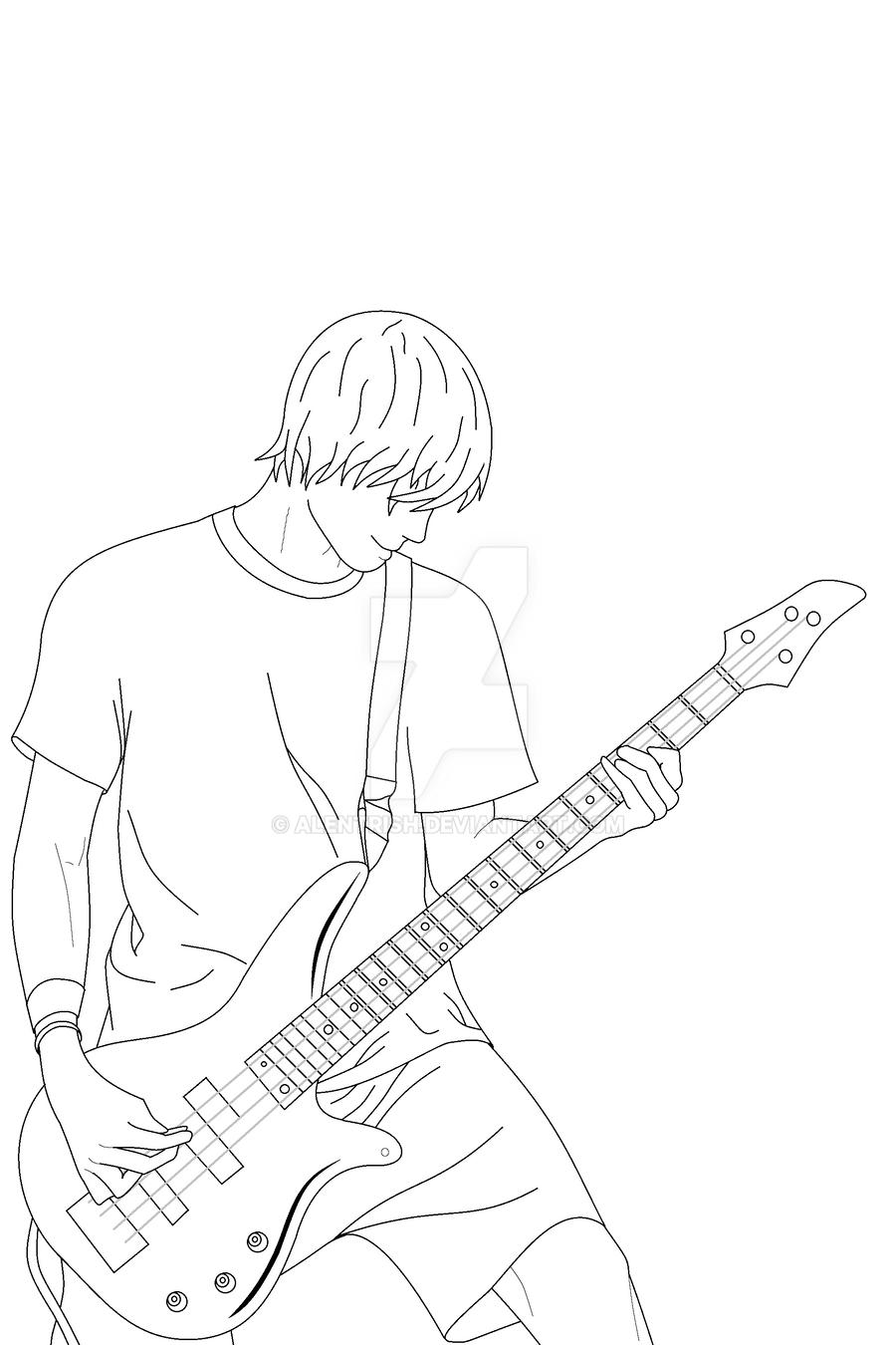 Guitar Boy Lineart By Alentrish