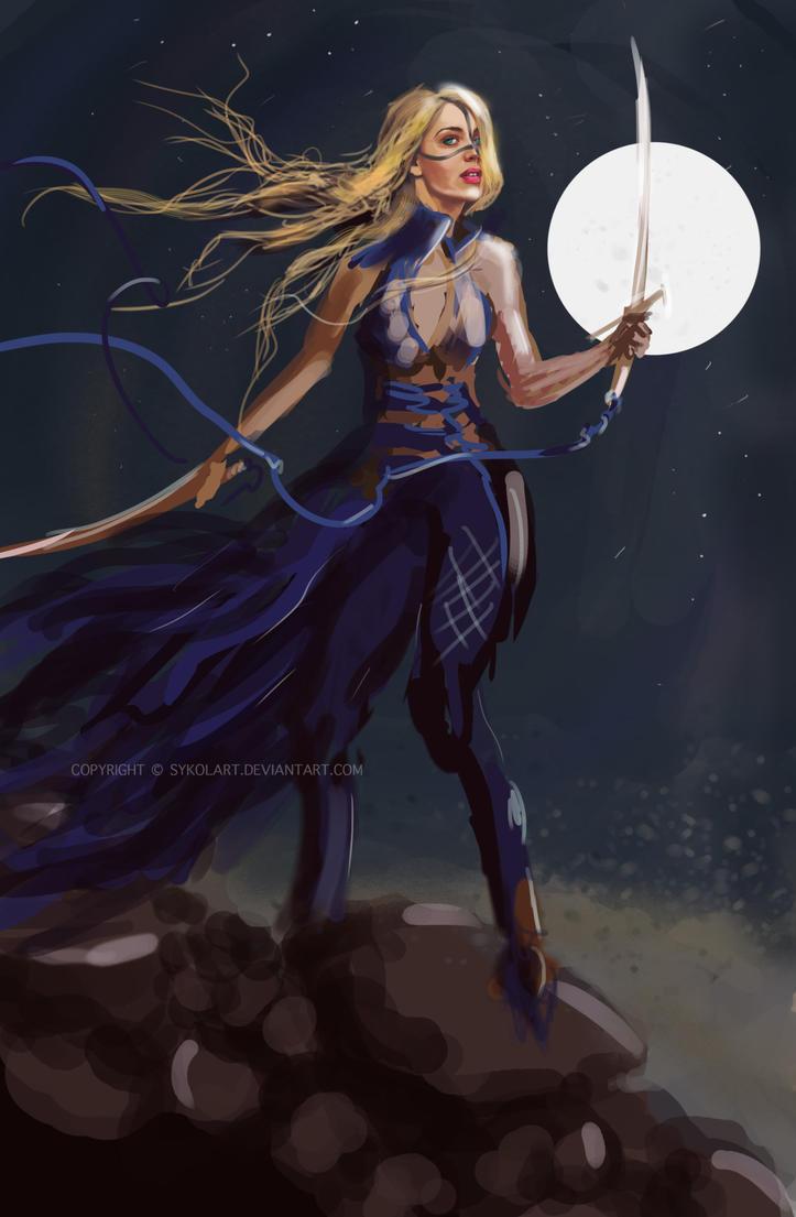 Moonlight sword dancer girl by sykolart