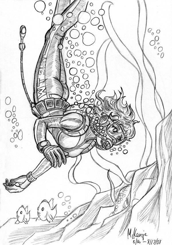 scuba diver sketch by redshoulder on deviantart