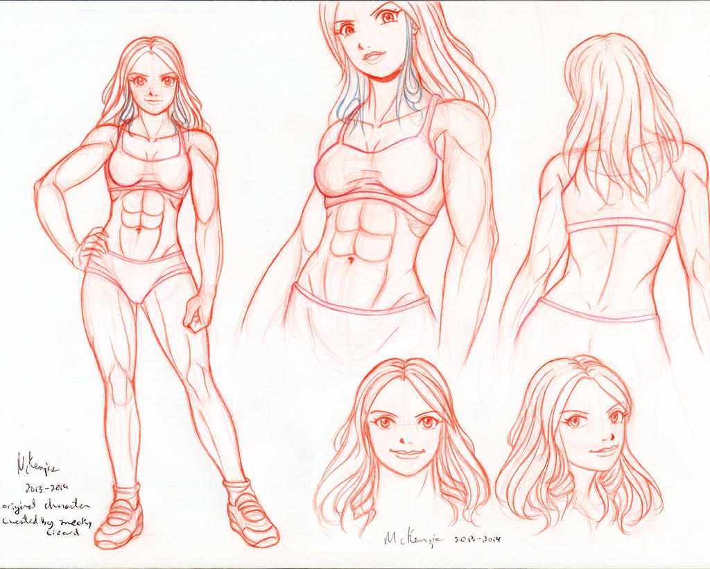 OC head and body sketches by RedShoulder