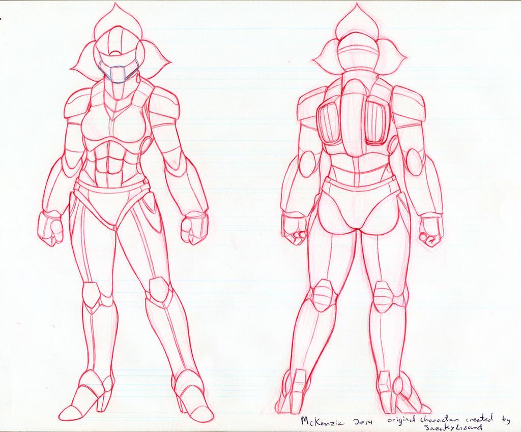 Battlesuit turnaround (pencils) by RedShoulder