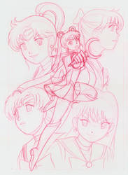 Sailor Moon and Scouts by RedShoulder