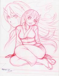 Oni Ladies Drawing by RedShoulder