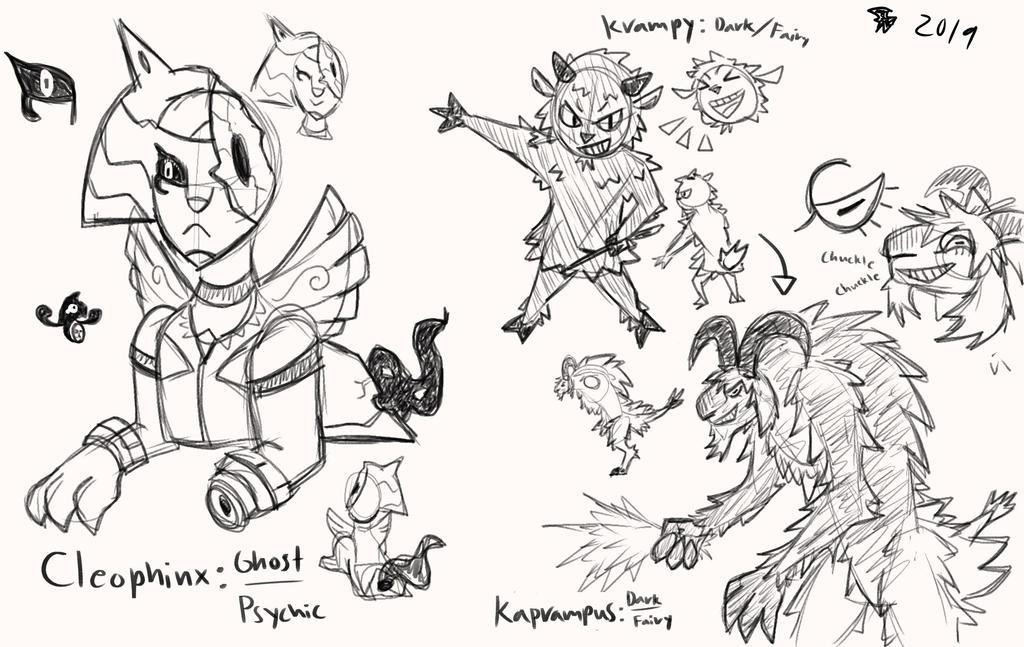 Fakemon Doodles 1 Cleophinx Krampy Kaprampus By Delta0nova On