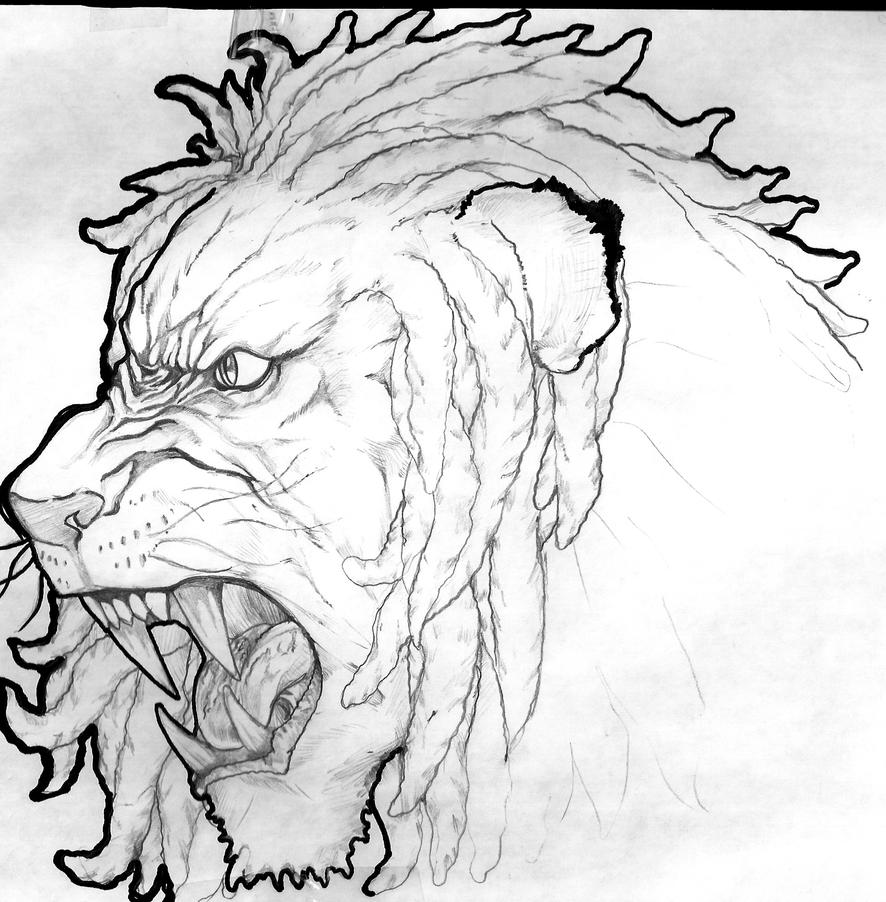 Lion with dreads tattoo drawings - photo#35