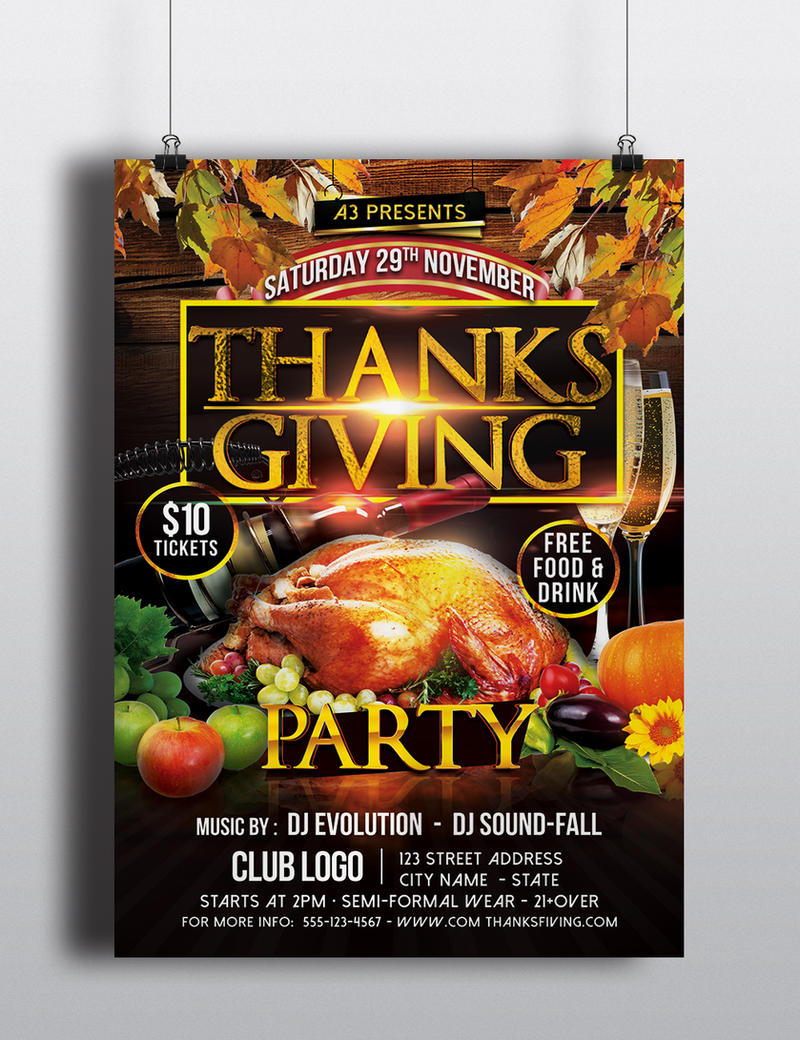 thanksgiving party flyer template by arrow3000graphics on deviantart. Black Bedroom Furniture Sets. Home Design Ideas