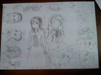 Sketches APH and my OC by Yanagirl