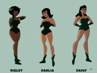 Violet, Dahlia, and Diana