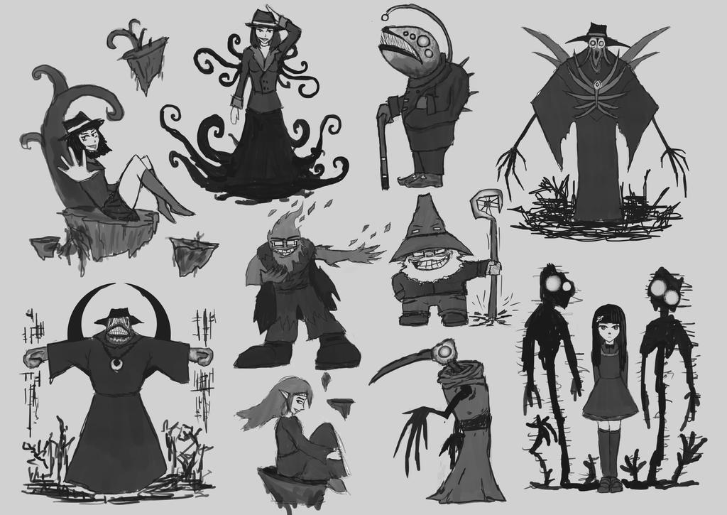 Sketch dump - Representatives of the Elements by Elfenzorn