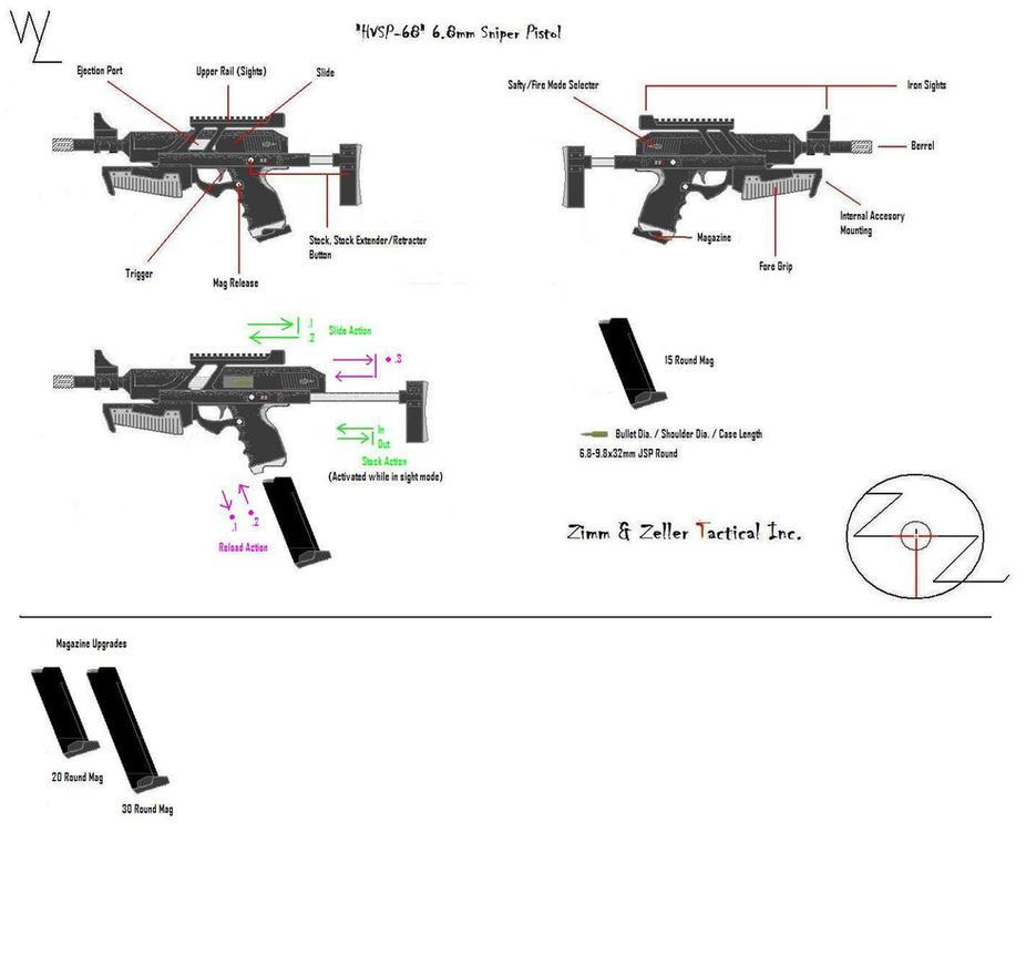 """""""HVSP-68"""" 6.8mmSniper Pistol by KillSwitchWes"""