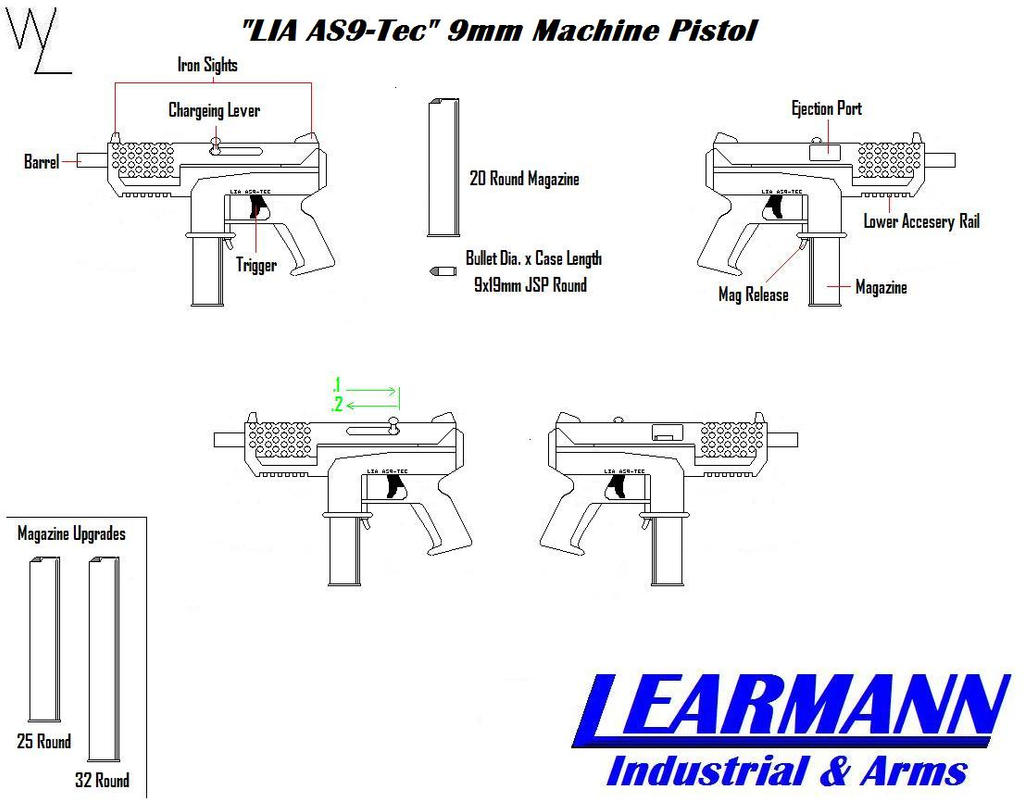 """LIA AS9-Tec"" 9mm Mac Pistol by KillSwitchWes"