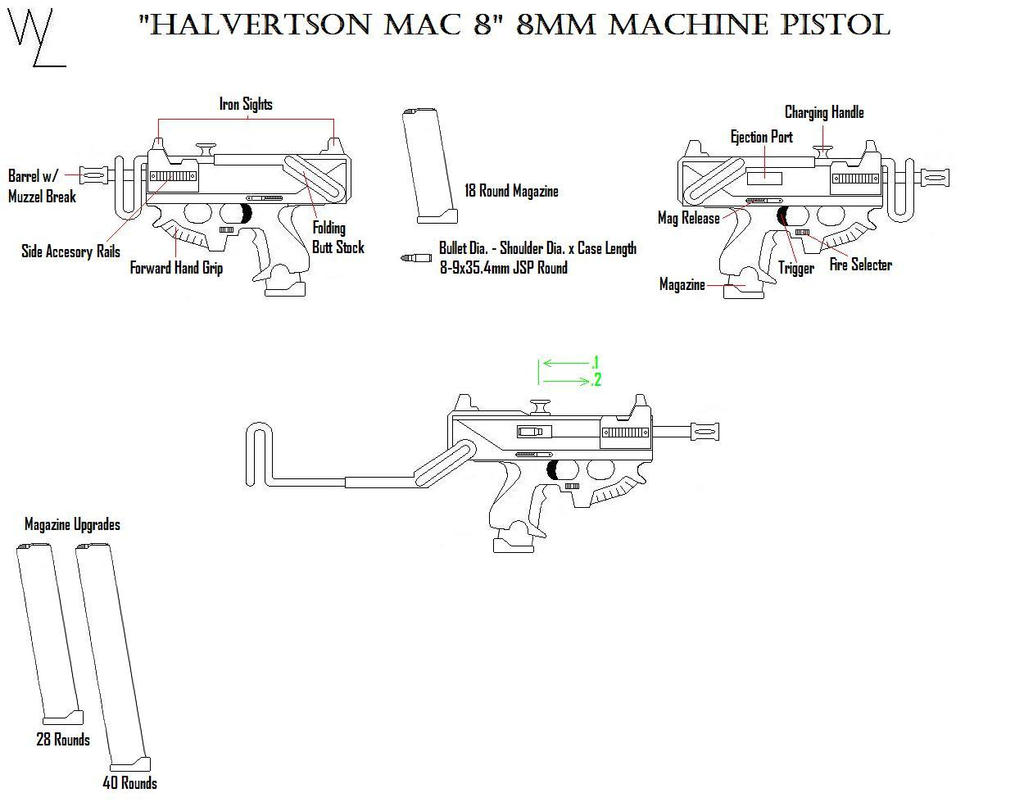 """Mac 8"" 8mm Machine Pistol by KillSwitchWes"